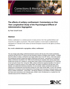 The Effects of Solitary Confinement cover