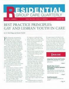 Best Practice Principles: Gay and Lesbian Youth in Care Cover