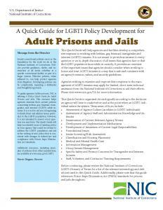 A Quick Guide for LGBTI Policy Development for Adult Prisons and Jails Cover