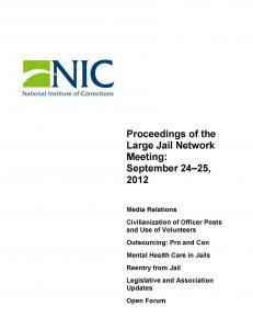 Proceedings of the Large Jail Network Meeting Aurora, Colorado September 24-25, 2012 Cover