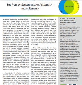 The Role of Screening and Assessment in Jail Reentry Cover