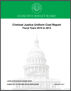 Criminal Justice Uniform Cost Report: Fiscal Years 2010 to 2012 Cover