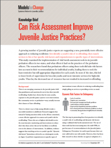 Can Risk Assessment Improve Juvenile Justice Practices? Cover