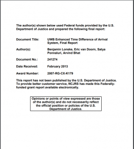 UWB Enhanced Time Difference of Arrival System: Summary [and] Final Report Cover