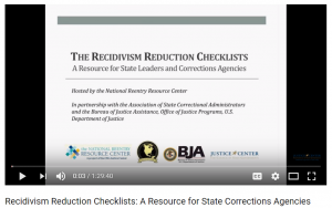 Webinar: The Recidivism Reduction Checklists: A Resource for State Leaders and Corrections Agencies Cover