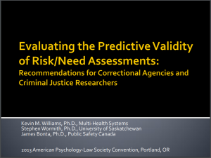 Evaluating the Predictive Validity of Risk/Need Assessments: Recommendations for Correctional Agencies and Criminal Justice Researchers Cover