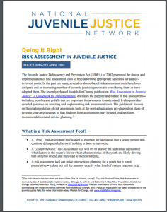 Doing It Right: Risk Assessment in Juvenile Justice Cover