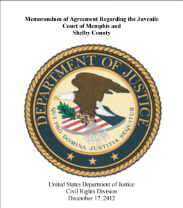 Memorandum of Agreement Regarding the Juvenile Court of Memphis and Shelby County Cover