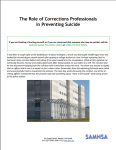The Role of Corrections Professionals in Preventing Suicide Cover