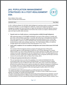 Jail Population Management Strategies in a Post-Realignment Era Cover