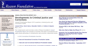 Annual Privatization Report 2013: Criminal Justice and Corrections Cover