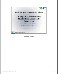 The Prison Rape Elimination Act of 2003: The Impact of National PREA Standards on Community Corrections Cover
