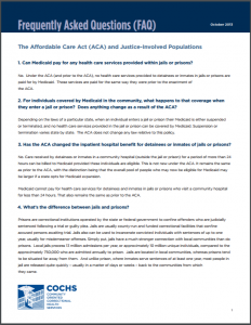 Frequently Asked Questions (FAQ): The Affordable Care Act (ACA) and Justice-Involved Populations Cover