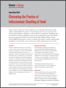 Eliminating the Practice of Indiscriminate Shackling of Youth Cover