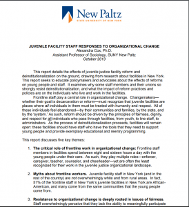 Juvenile Facility Staff Responses to Organizational Change Cover