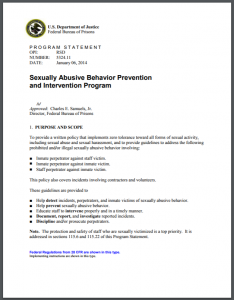 Sexually Abusive Behavior Prevention and Intervention Program Cover