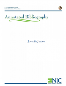 Juvenile Justice: Annotated Bibliography cover