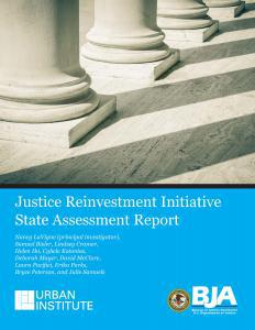Justice Reinvestment Initiative State Assessment Report Cover