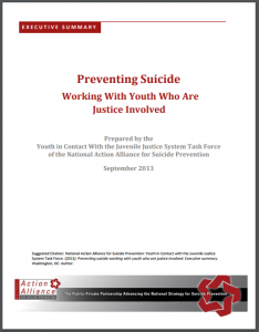 Preventing Suicide: Working with Youth Who Are Justice Involved: Executive Summary Cover