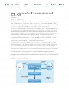› Social Impact Bonds Gain Momentum in the Criminal Justice Field Cover