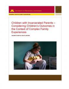 Children with Incarcerated Parents – Considering Children's Outcomes in the Context of Complex Family Experiences Cover