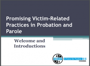 Promising Victim Related Practices in Probation and Parole: Training Curriculum [and] Participant Manual [Lesson Plans and Participants' Manual] Cover