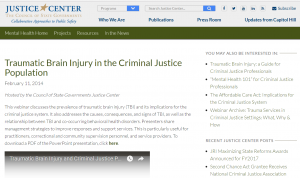 Traumatic Brain Injury in the Criminal Justice Population [Webinar] Cover