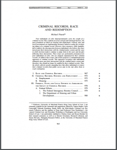 Criminal Records, Race and Redemption Cover
