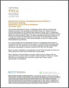 Specialized Training: Investigating Sexual Abuse in Confinement Settings Cover