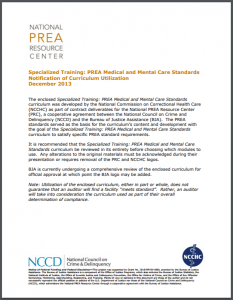 Specialized Training: PREA Medical and Mental Care Standards Cover
