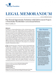 The Hawaii Opportunity Probation with Enforcement Project: A Potentially Worthwhile Correctional Reform Cover