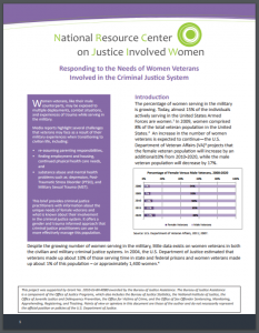 Responding to the Needs of Women Veterans Involved in the Criminal Justice System Cover