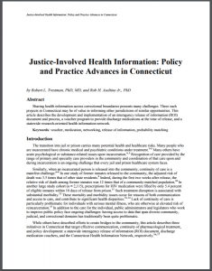 Justice-Involved Health Information: Policy and Practice Advances in Connecticut Cover