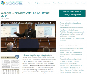 Reducing Recidivism: States Deliver Results Cover