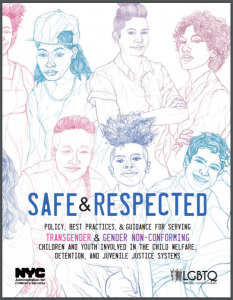 Safe & Respected: Policy, Best Practices & Guidance for Serving Transgender & Gender Non-Conforming Children and Youth in the Child Welfare, Detention, and Juvenile Justice Systems Cover
