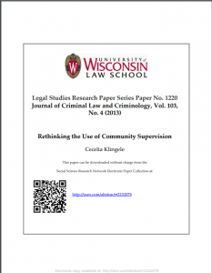 Rethinking the Use of Community Supervision Cover