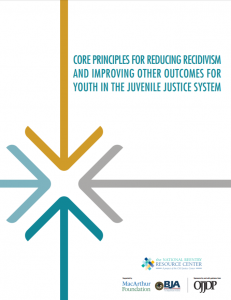 Core Principles for Reducing Recidivism and Improving Other Outcomes for Youth in the Juvenile Justice System Cover