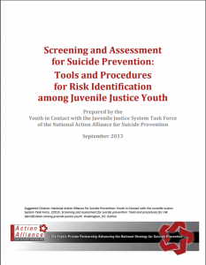 Screening and Assessment for Suicide Prevention: Tools and Procedures for Risk Identification among Juvenile Justice Youth Cover