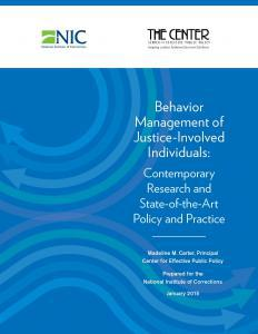 Behavior Management of Justice-Involved Individuals: Contemporary Research and State-of-the-Art Policy and Practice Cover