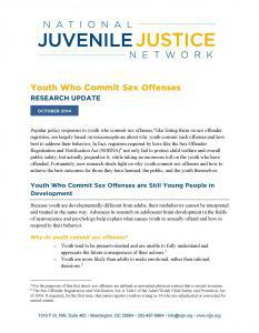 Youth Who Commit Sex Offenses: Research Update Cover