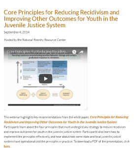 Core Principles for Reducing Recidivism and Improving Other Outcomes for Youth in the Juvenile Justice System [Webinar] Cover