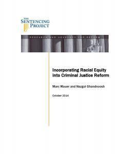 Incorporating Racial Equality Into Criminal Justice Reform Cover