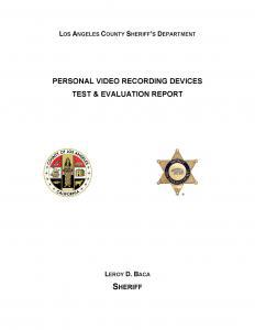 Assessment of the Potential Implementation of a Personal Video Recording Device Program in Los Angeles County Sheriff's Department Custody Facilities Cover