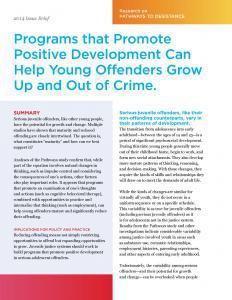 Programs that Promote Positive Development Can Help Young Offenders Grow Up and Out of Crime Cover