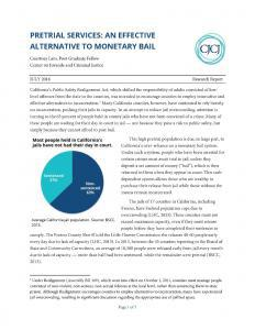 Pretrial Services: An Effective Alternative to Monetary Bail Cover