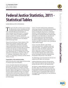 Federal Justice Statistics, 2011 - Statistical Tables Cover