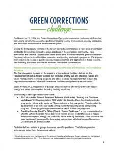 Green Corrections Symposium Notes Cover