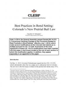 Best Practices in Bond Setting: Colorado's New Pretrial Bail Law: Revised Edition Cover