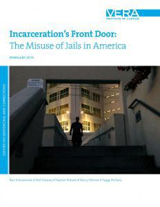Incarceration's Front Door: The Misuse of Jails in America Cover