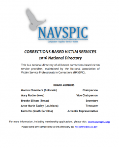 Corrections-Based Victim Services 2016 National Directory screenshot